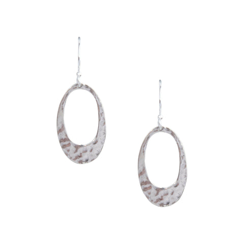 Small Hammered Oval Earrings in Silver