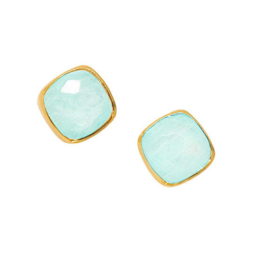 Square Studs in Chalcedony-Earrings-Waffles & Honey Jewelry-Waffles & Honey Jewelry