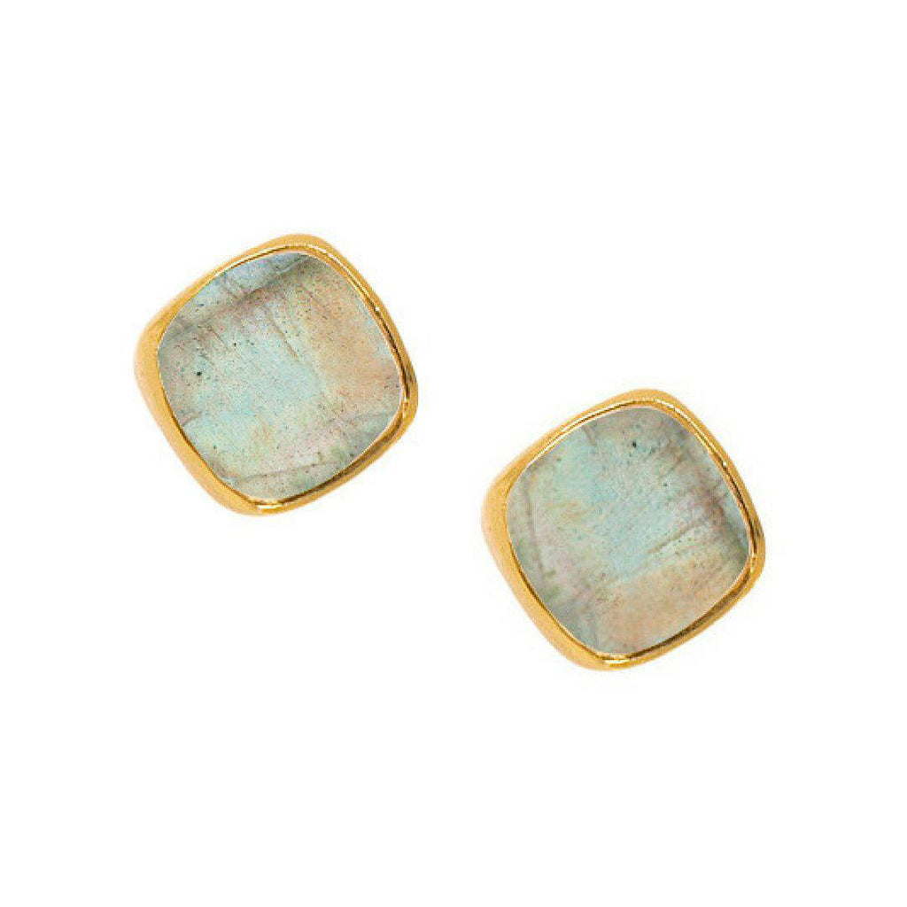 Square Studs in Labradorite-Earrings-Waffles & Honey Jewelry-Waffles & Honey Jewelry