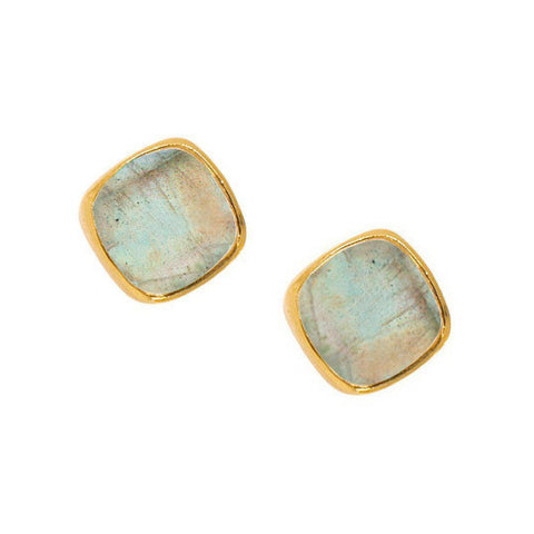 Square Studs in Labradorite