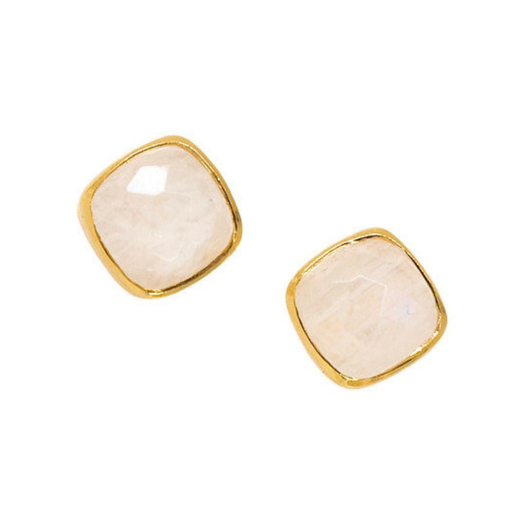 Square Studs in Moonstone-Earrings-Waffles & Honey Jewelry-Waffles & Honey Jewelry