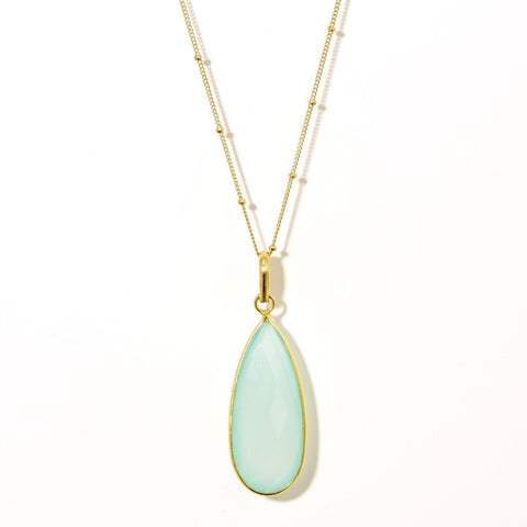 Teardrop Necklace in Chalcedony