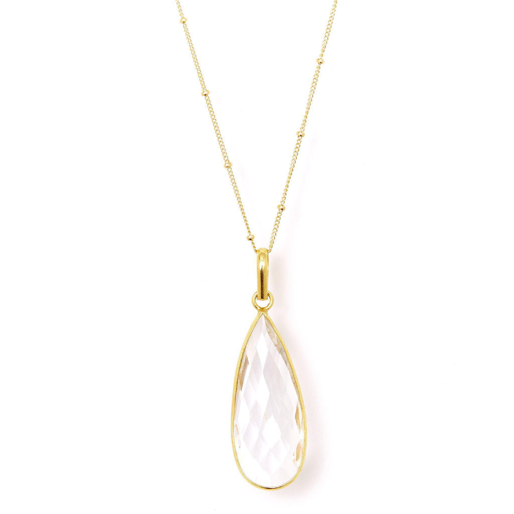 Teardrop Necklace in Crystal Quartz-Necklaces-Waffles & Honey Jewelry-Waffles & Honey Jewelry