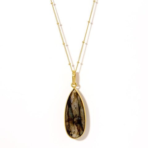 Teardrop Necklace in Labradorite