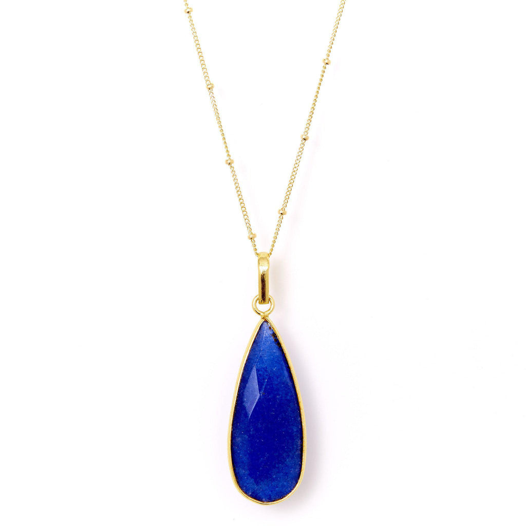 Teardrop Necklace in Sapphire-Necklaces-Waffles & Honey Jewelry-Waffles & Honey Jewelry