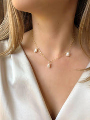 Three Pearl Choker-Necklaces-Waffles & Honey Jewelry-Waffles & Honey Jewelry