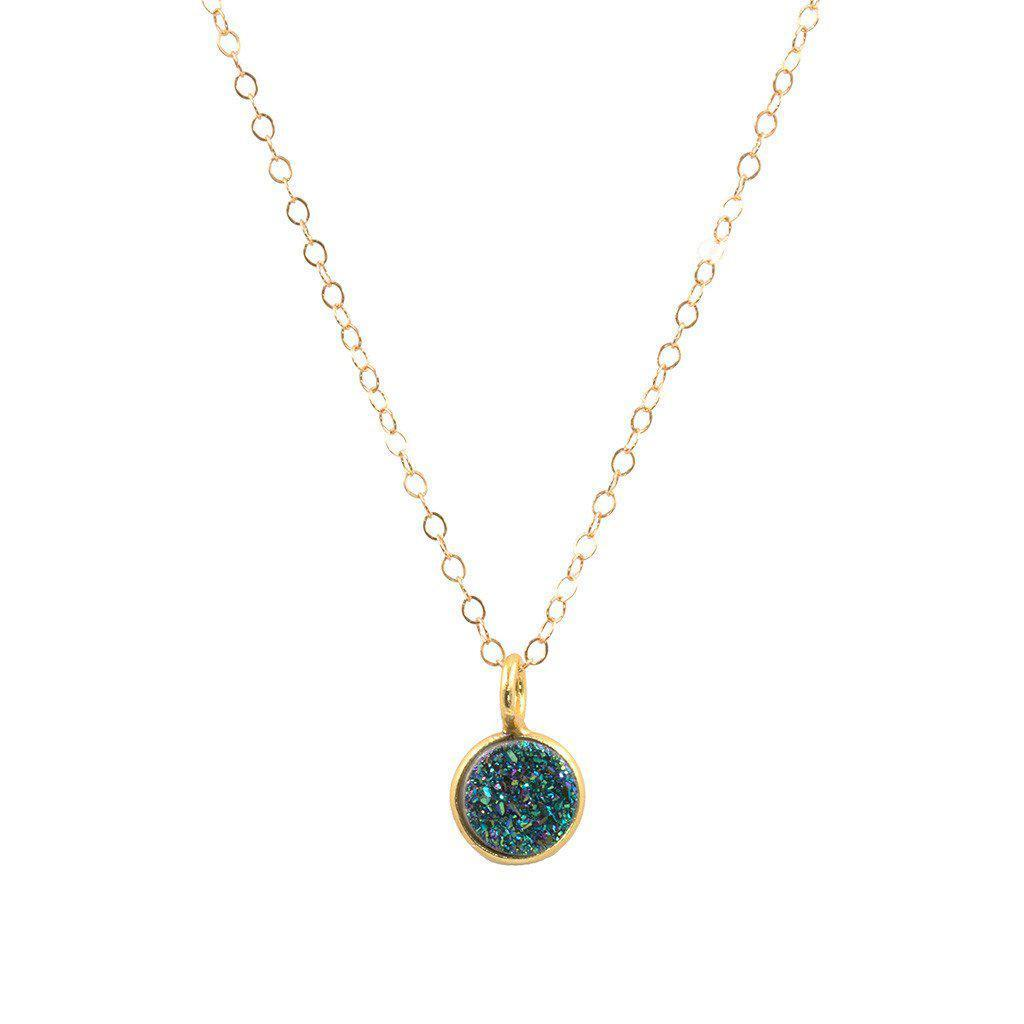Tinkerbell Coin Necklace in Blue Druzy-Necklaces-Waffles & Honey Jewelry-Waffles & Honey Jewelry