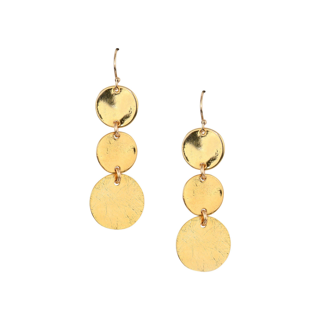 Triple Disc Earrings in Gold-Earrings-Waffles & Honey Jewelry-Waffles & Honey Jewelry