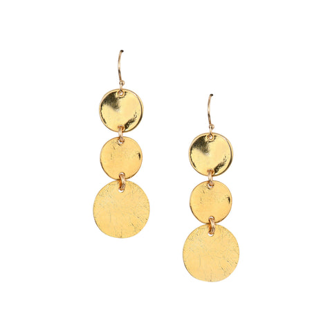 Triple Disc Earrings in Gold