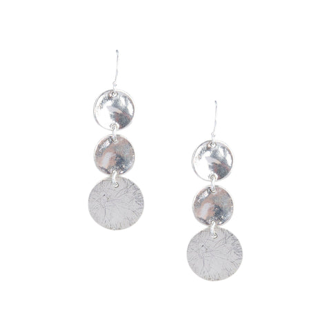 Triple Disc Earrings in Silver