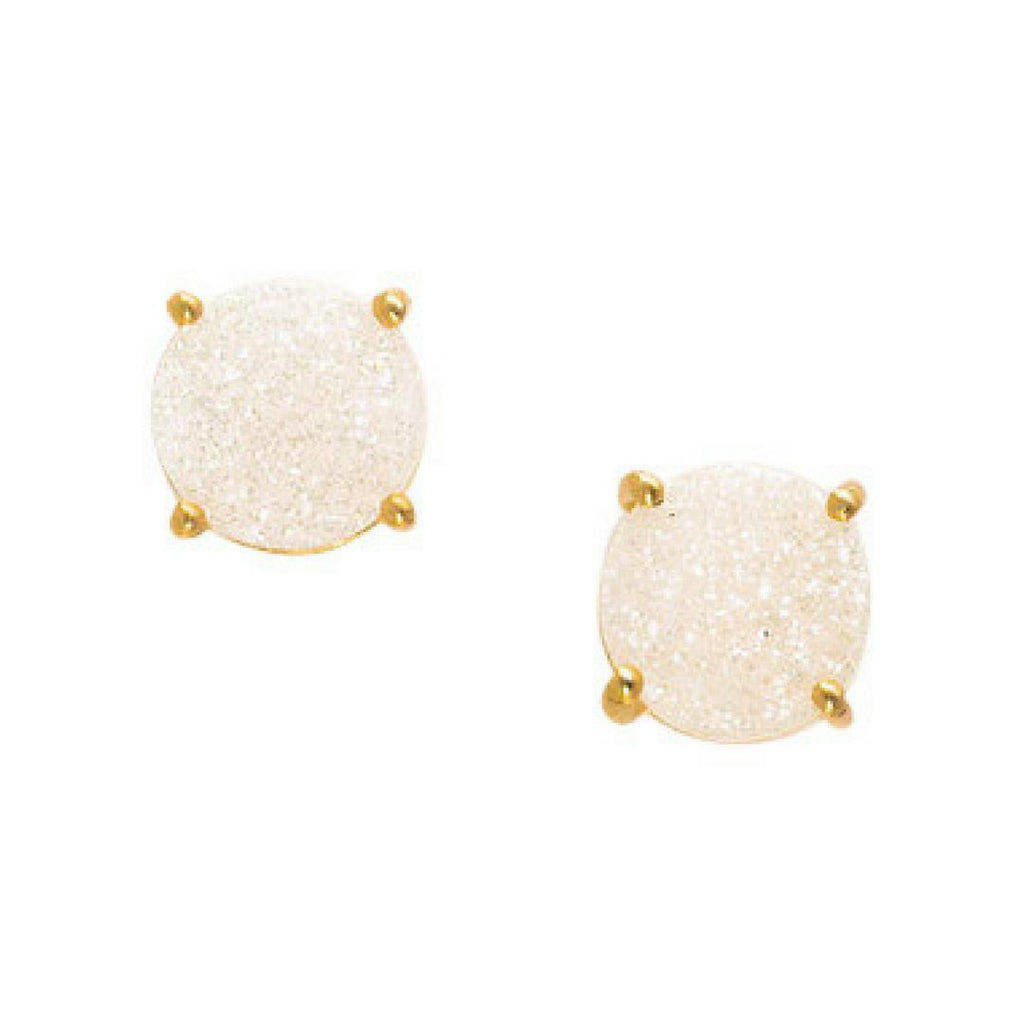 White Druzy Studs-Earrings-Waffles & Honey Jewelry-Waffles & Honey Jewelry