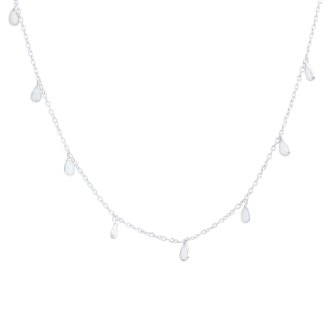 White Opal Choker in Silver