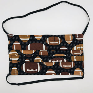 Footballs on Black Background Face Mask for Kids