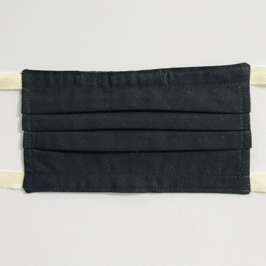 Solid Black Kids Face Mask with Twill Straps