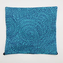Load image into Gallery viewer, Image of black swirl vines on blue cotton print.