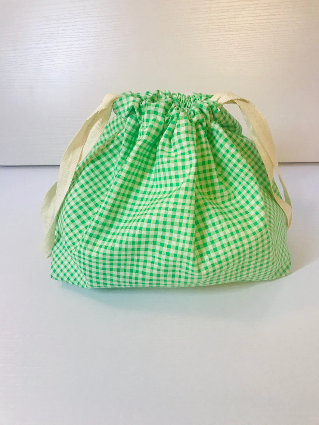 Gingham Drawstring Bag