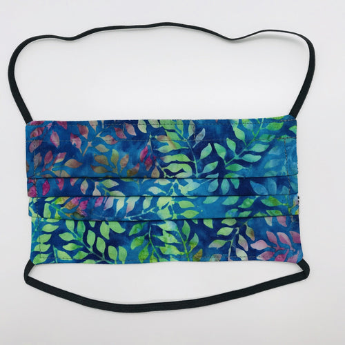 "Masks are made of 2 layers of 100% quilting cotton of blue, green and purple leaves and have over the head elastic loops. The masks also have a bendable aluminum nose piece. Wash in washing machine and dry in dryer after each use. 7"" H x 7.5"" W"