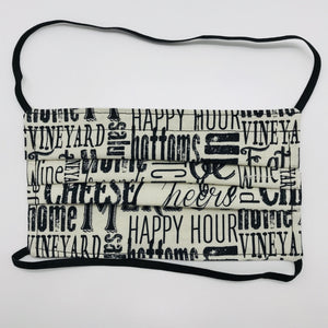 Wine Country Words Face Mask with Elastic Head Loops