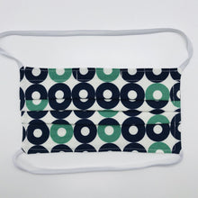 "Load image into Gallery viewer, Masks are made of 2 layers of 100% quilting-weight blue, green and white record shapes cotton print, behind the head elastic bands and a bendable aluminum nose piece Wash in washing machine and dry in dryer after each use. 7"" H x 7.5"" W"