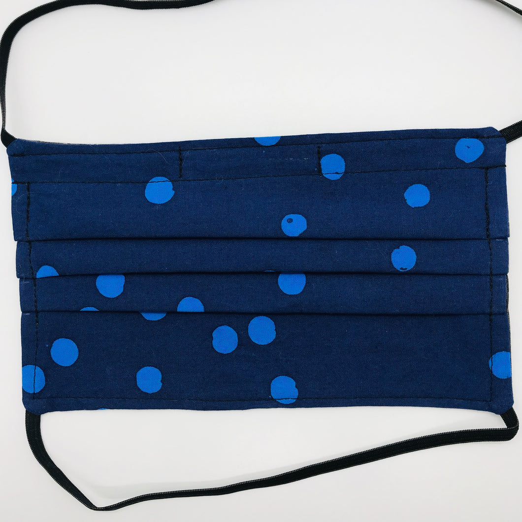 Blue Dot Batik Face Mask with Elastic Head Loops