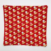 Load image into Gallery viewer, Image of vintage picnic flowers on red fabric print.