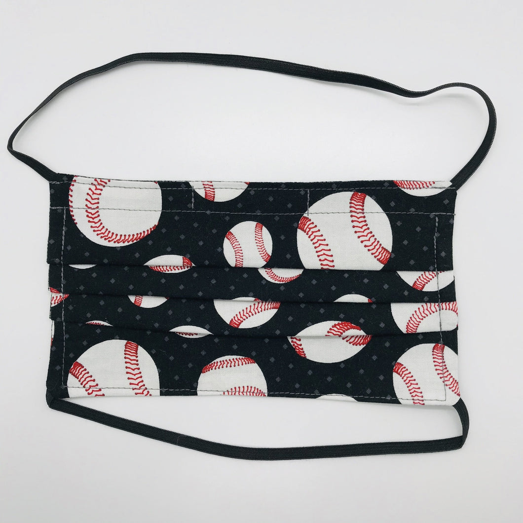 Baseball Fabric Face Mask with Elastic Head Loops