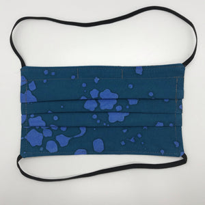 Teal  Splatter Batik Face Mask with Elastic Head Loops