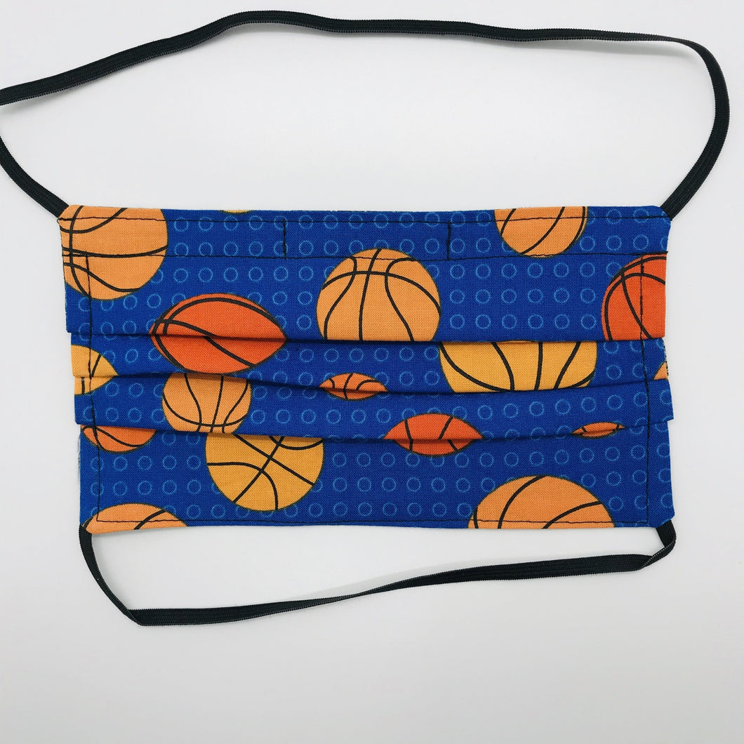Basketballs on Blue Background Face Mask with Elastic Head Loops