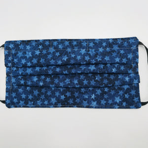 Blue Stars on Blue Face Mask with Adjustable Elastic Ear Loops