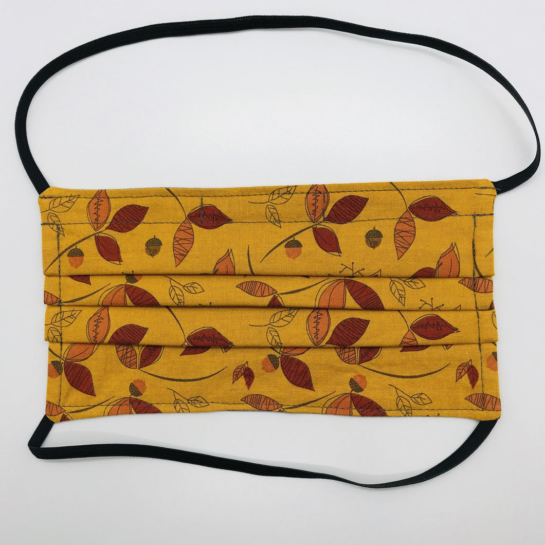 Rust Fall Leaves and Acorns Face Mask with Elastic Head Loops