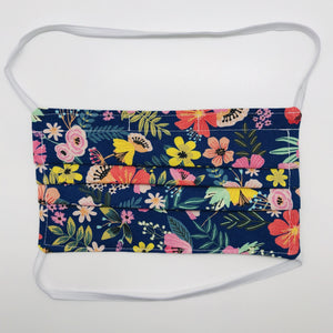 Flowers on Navy Face Mask with Elastic Head Loops