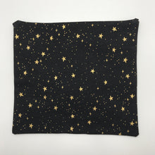 Load image into Gallery viewer, Image of metallic gold stars on black cotton print by Rifle Paper Designs.