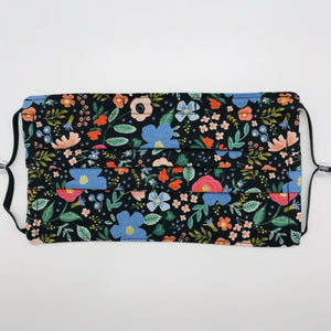 Rifle Paper Co Wild Roses on Black Background Face Mask for Kids