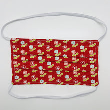 "Load image into Gallery viewer, Made with three layers of vintage flowers on red 100% quilting-weigh cotton fabric. This mask includes a filter pocket located in the pleats in the back of the mask for a filter of your choice. Available with either elastic head bands or adjustable elastic ear loops and also has a bendable aluminum nose piece which helps to make a better seal over the wearers face. Machine wash and dry after each use. 7"" H x 7.5"" W"