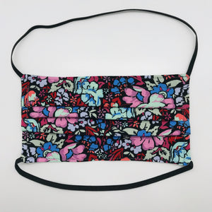 "Masks are made of 2 layers of burgundy, pink and blue floral print 100% quilting cotton and have behind the head elastic bands. The masks also have a bendable aluminum nose. Wash in washing machine and dry in dryer after each use. 7"" H x 7.5"" W"