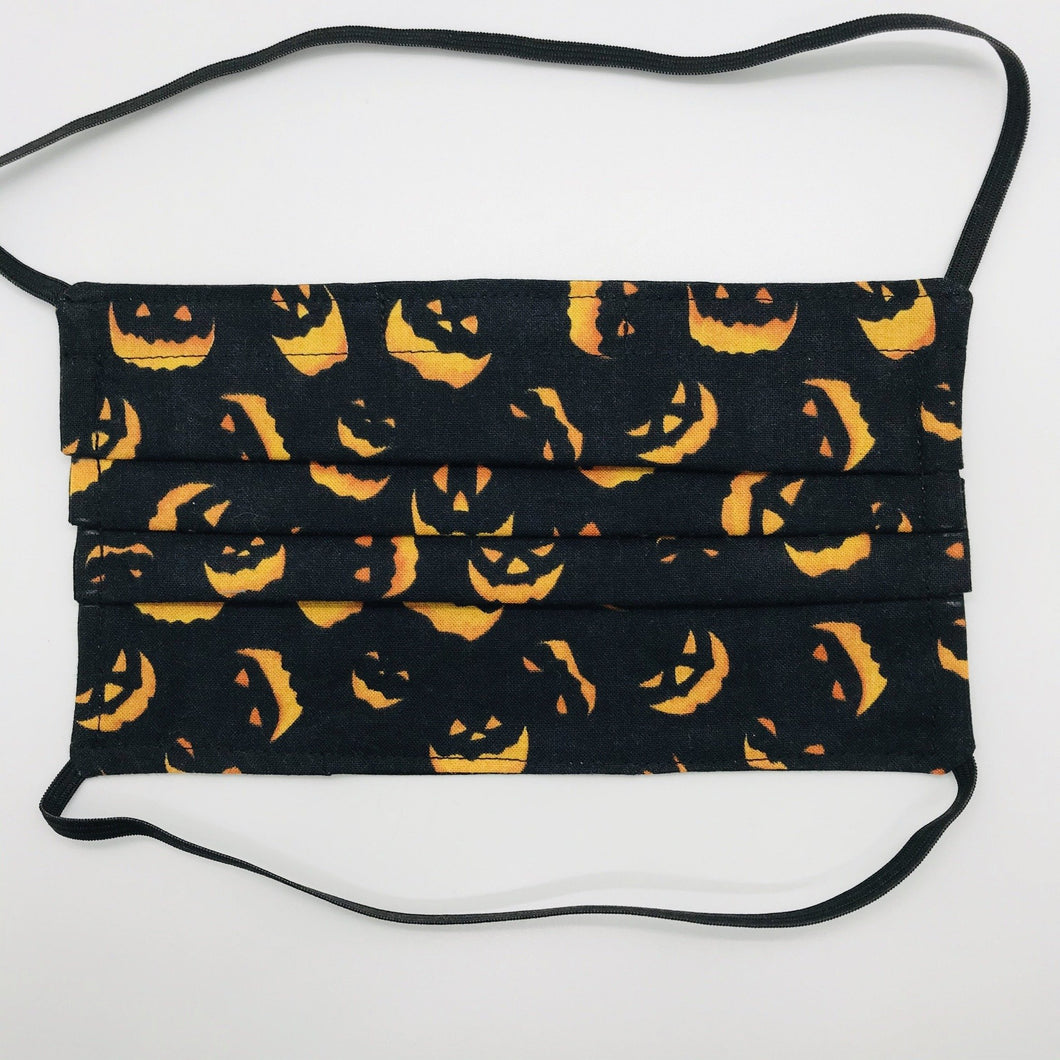 Spooky Orange Faces on Black  Kids Face Mask with Elastic Head loops