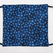 Load image into Gallery viewer, Blue Stars on Blue Face Mask with Adjustable Elastic Ear Loops