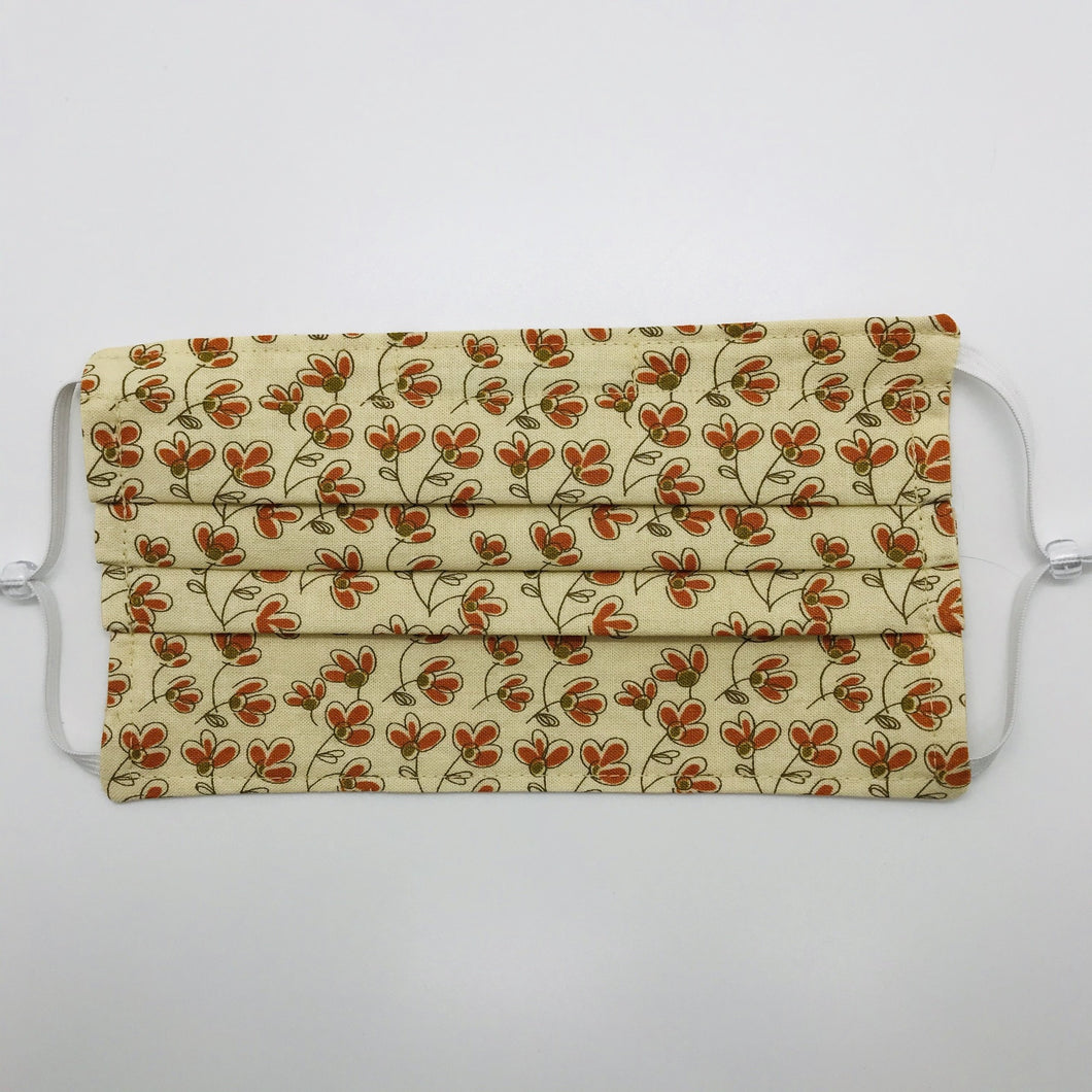 Autumn Flowers on Cream Face Mask with Adjustable Elastic Ear Loops