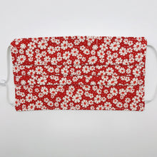 "Load image into Gallery viewer, Masks are made of 2 layers of 100% quilting-weight cotton fabric with a 30's retro simple daisy's on red print. . The elastic adjustable ear loops tightened with a craft bead to make them comfortable to fit a wider range of sizes. The masks also have a bendable aluminum nose piece which helps to make a better seal over the wearers face. Machine wash and dry after each use.     7"" H x 7.5"" W"