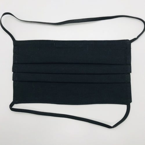 "Masks are made of 2 layers of 100% quilting-weight featuring solid black cotton and have behind the head elastic bands. The masks also have a bendable aluminum nose piece. Wash in washing machine and dry in dryer after each use. 7"" H x 7.5"" W"