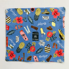 "Load image into Gallery viewer, 100% quilting-weight blue, travel themed cotton face mask with twill tape straps and bendable nose piece. Washable, reusable fabric face mask. Wash in washing machine and dry in dryer after each use.  Fabric from the Les Fleurs collection by Rifle Paper co, designed by Ann Rifle Bond.  7"" H x 7.5"" W"