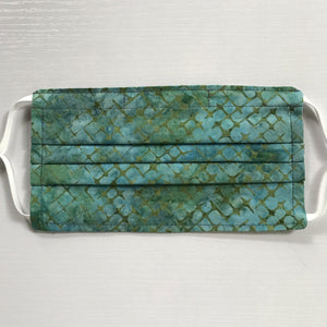Green/Blue Batik Face Mask with Adjustable Elastic Ear Loops