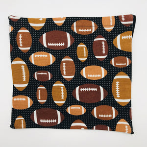 Footballs on Black Background Face Mask with Elastic Head Loops