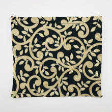 Load image into Gallery viewer, Image of gold swirls on black cotton print.