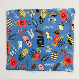 "100% quilting-weight blue travel themed cotton face mask with elastic bands and bendable nose piece. Washable, reusable fabric face mask. Wash in washing machine and dry in dryer after each use.  Fabric from the Les Fleurs collection by Rifle Paper co, designed by Ann Rifle Bond.  7"" H x 7.5"" W"