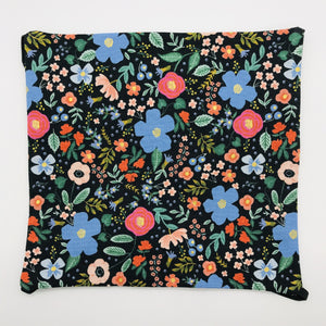 Image of Rifle Paper Co Wild Roses on Black fabric.