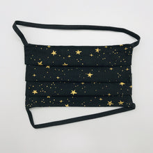 Load image into Gallery viewer, Rifles Paper Co Metallic Gold Stars on Black Background Face Mask for Kids