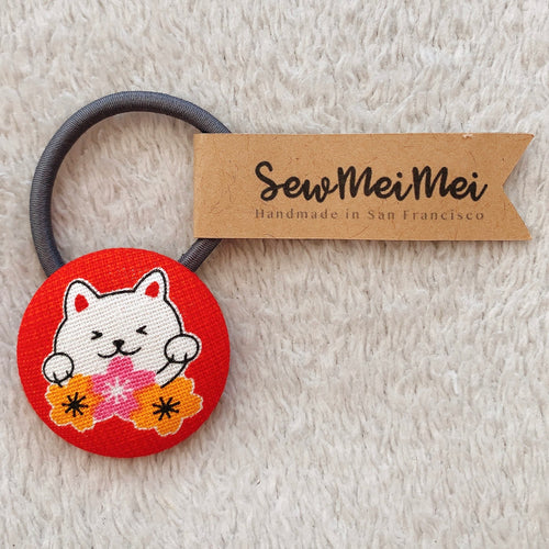 SewMeiMei - Big Hair Ties - Red Cat