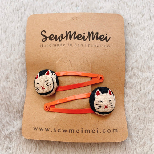SewMeiMei Hair Clips Barrettes - Lucky Cat