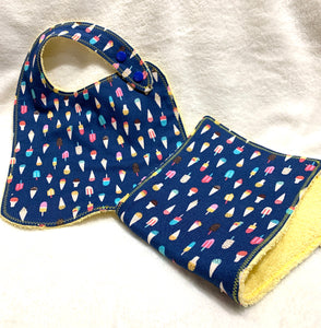 Ice Cream Bib + Burp Cloth | Gift Set